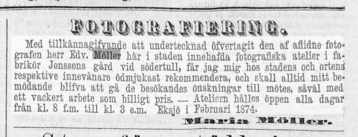 Maria Möller annons i Hvad Nytt den 27 februari 1874.