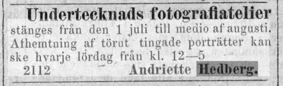 Andriette Hedberg annons i Norrlandsposten den 29 juni 1874.