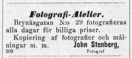 John Stenberg annons i Norrlandsposten den 5 februari 1877.