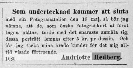 Andriette Hedberg annons i Norrlandsposten den 12 april 1878.