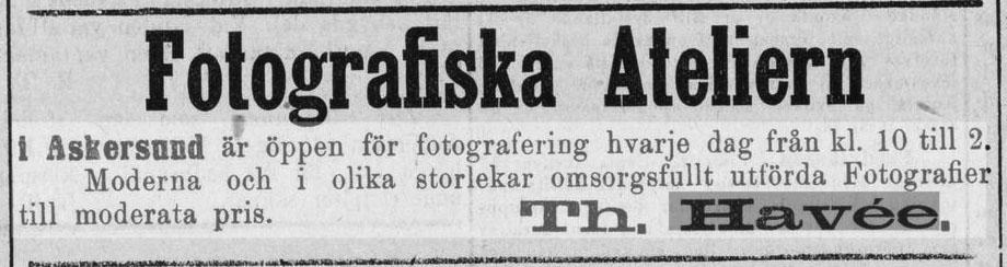 Th. Havée annons i Nerikes Allehanda den 20 november 1878.
