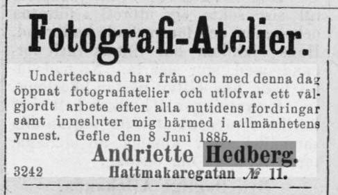 Andriette Hedberg annons i Norrlandsposten den 8 juni 1885.