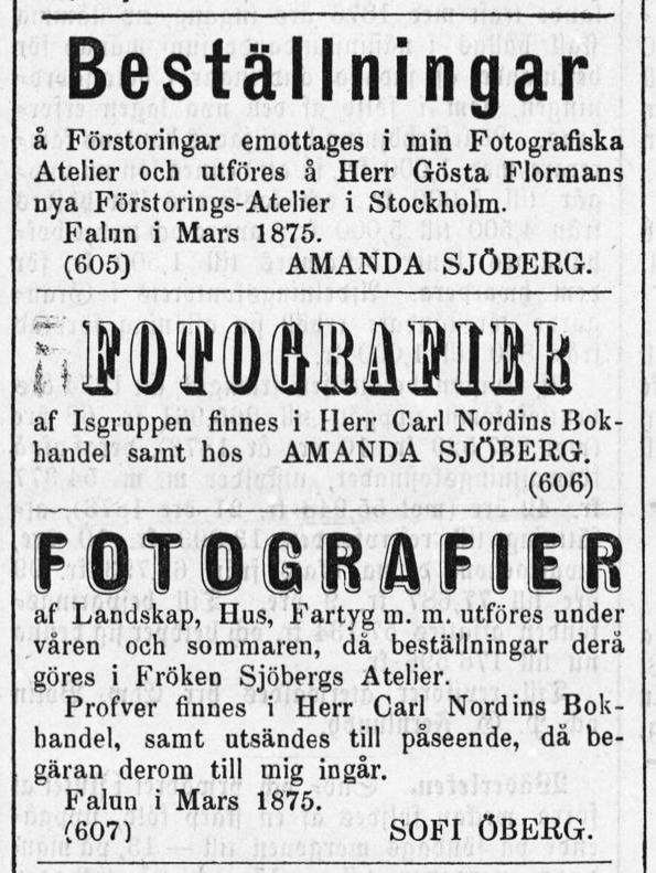Sofie Öberg annons i Dalpilen den 27 mars 1875.