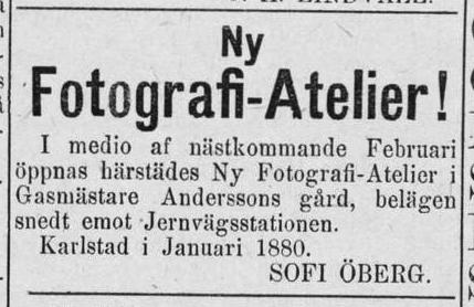 Sofie Öberg annons i Nya Wermlands Tidningen den 30 januari 1880.