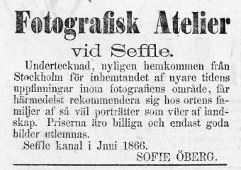 Sofie Öberg annons i Nya Wermlands Tidningen den 6 juni 1866.