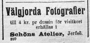 Schöns Atelier annons i Ljusdals Tidning den 1 juli 1904.