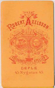 Robert Axelsson visitkort Gefle, fram (P418_0001B).