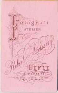 Robert Axelsson visitkort Gefle, fram (P418_0007B).