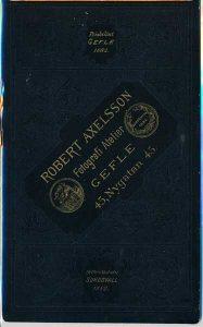 Robert Axelsson visitkort Gefle, fram (P418_0008B).