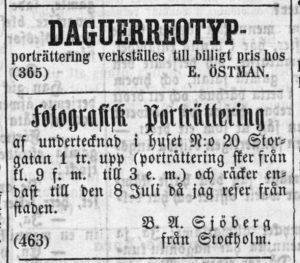 B. A. Sjöberg annons i Norrlandsposten den 30 juni 1859.