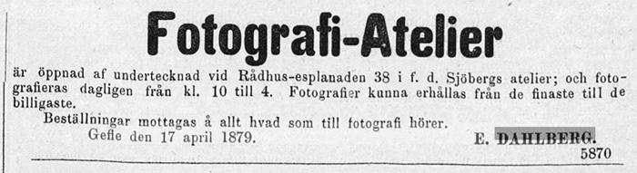 E. Dahlberg annons i Norrlandsposten den 18 april 1879.