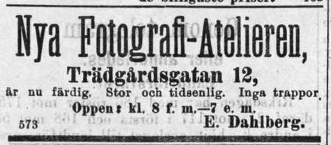 E. Dahlberg annons i Fyris den 1 maj 1892.