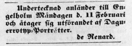 W. de Renard annons i Helsingborgsposten den 12 februari 1856.