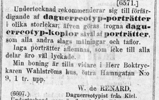 W. de Renard annons i Göteborgs Handels- och Sjöfartstidning den 14 juni 1856.