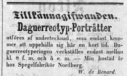 W. de Renard annons i Bohusläns Tidning den 11 augusti 1856.