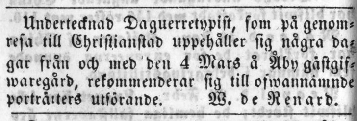 W. de Renard annons i Helsingborgsposten den 2 mars 1857.