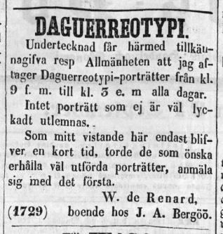 W. de Renard annons i Norrlandsposten den 24 september 1857.