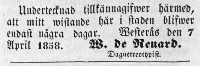 W. de Renard annons i Vestmanlands Läns Tidning den 8 april 1858.