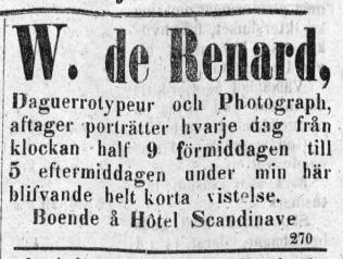 W. de Renard annons i Upsala den 21 maj 1858.