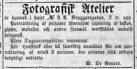 W. de Renard annons i Stockholms Dagblad den 5 februari 1864.