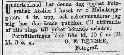 O. E. Renner annons i Dagens Nyheter den 18 mars 1872.