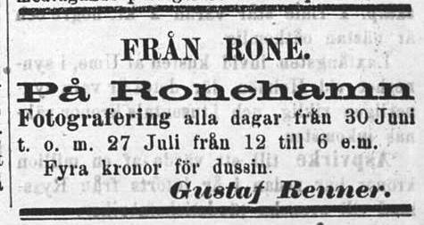 Gustaf Renner annons i Gotlands Allehanda den 4 juli 1884.