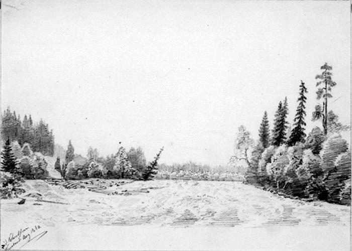 """Skogskantad älv med drivtimmer"", Otto Renner, Fryksdalen Wermland, aug. 1860, teckning, 16,8 x 23,2 cm, Nationalmuseum Nr. NMH 538/1892, Europeana Collections."