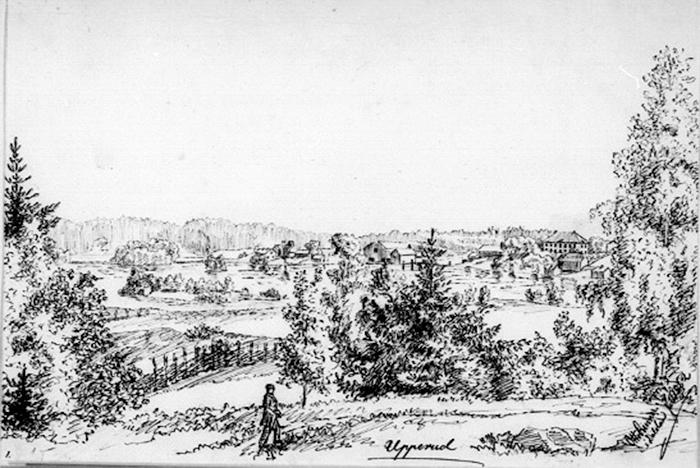 """""""Skogslandskap med sjö och herrgård"""", Otto Renner, Dalsland juli 1862, teckning, 22,9 x 33,6 cm, Nationalmuseum Nr. NMH 539/1892, Europeana Collections."""