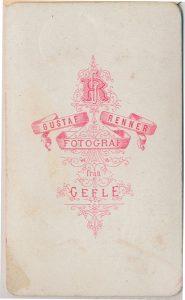 Gustaf Renner visitkort Gefle, bak (P325_0005B).